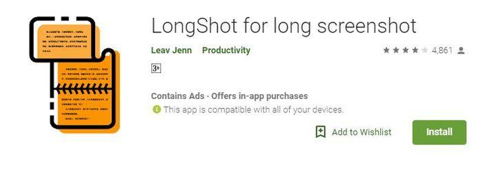 Aplikasi LongShot untuk screenshot