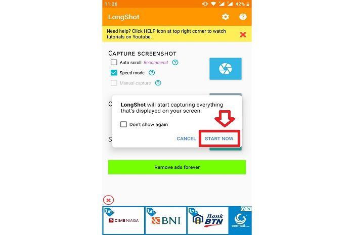 Tampilan aplikasi LongShot untuk screenshot atau capture chat WhatsApp panjang