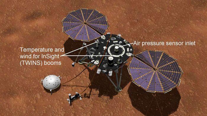 Pendarat Insight di permukaan Mars.