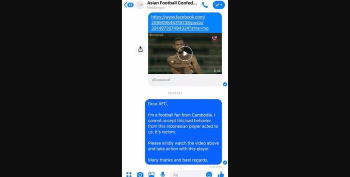 Bukti pelaporan fan Kamboja soal Marinus Wanewar kepada AFC.
