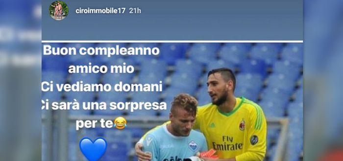 Tangkapan layar Instagram story dari Ciro Immobile yang mengucapkan selamat ulang tahun kepada Gianluigi Donnaruma.