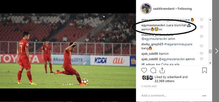 Unggahan Saddil Ramdani di Instagram yang mendapat komentar Egy Maulana Vikri.