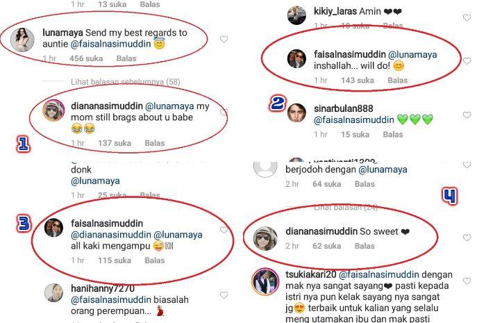 Luna Maya komentari unggahan Faisal Nasimuddin (Instagram @faisalnasimuddin)