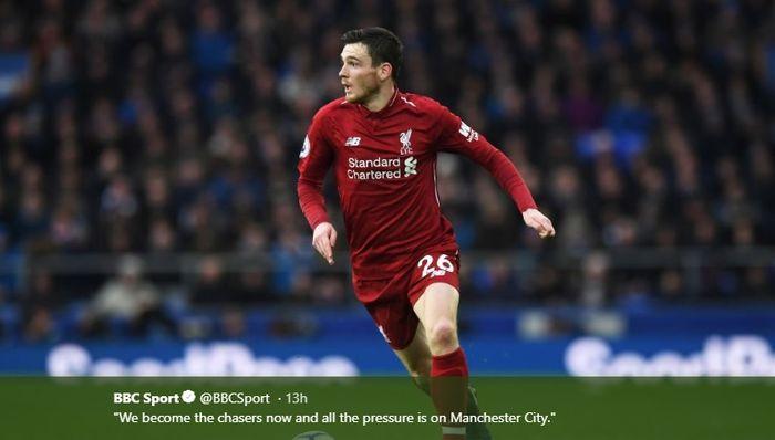 Bek kiri Liverpool, Andy Robertson saat melawan Everton di Goodison Park, Minggu (3/3/2019).