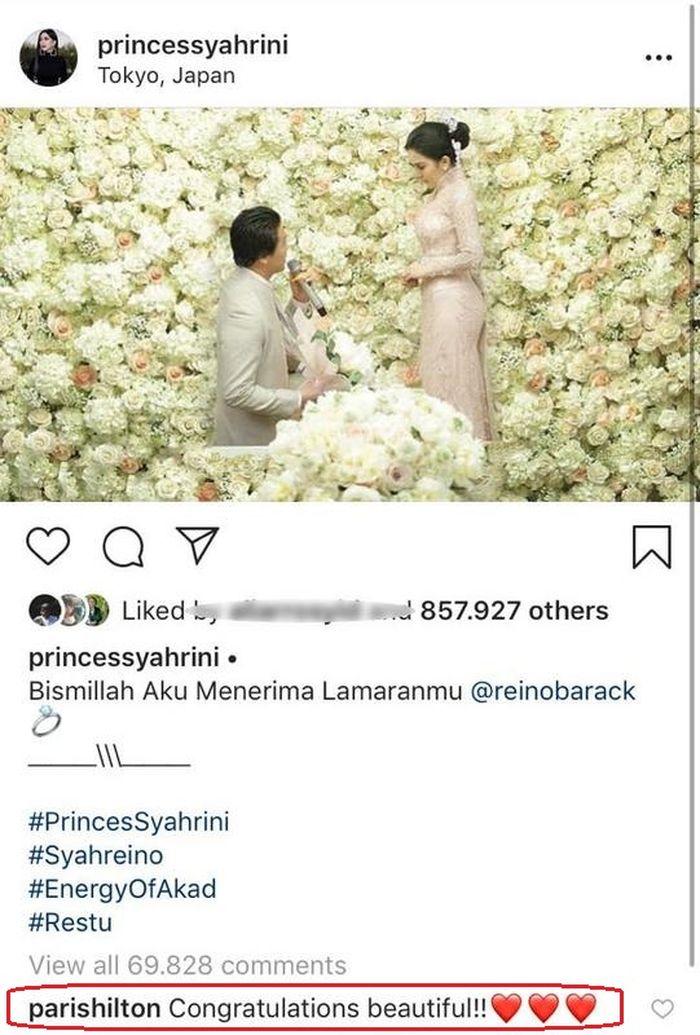 Komentar Paris Hilton di hari pernikahan Syahrini dan Reino Barack