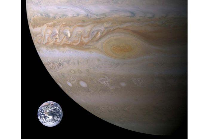 Ilustrasi Bumi dan Jupiter