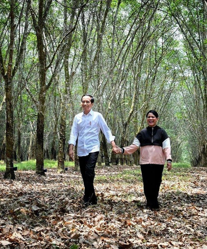 Jokowi gandeng Mesra Iriana di kebun karet Banyuasin, Sumatera Selatan