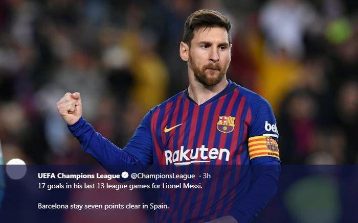 Lionel Messi mencetak gol dan assist dalam partai Barcelona vs Rayo Vallecano, 9 Maret 2019.
