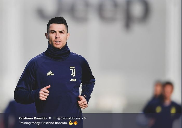 Cristiano Ronaldo berlatih bersama Juventus jelang laga melawan Atletico