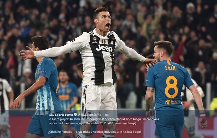 Ekspresi Cristiano Ronaldo setelah mencetak gol Juvetus ke gawang Atletico Madrid dalam partai Liga Champions, 12 Maret 2019.