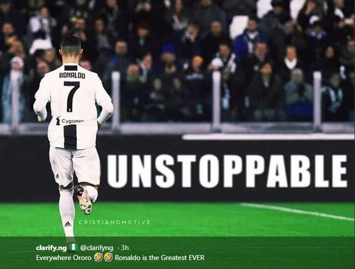 Pahlawan kemenangan Juventus, Cristiano Ronaldo mencetak tiga gol saat melawan Atletico Madrid di Stadion Allianz