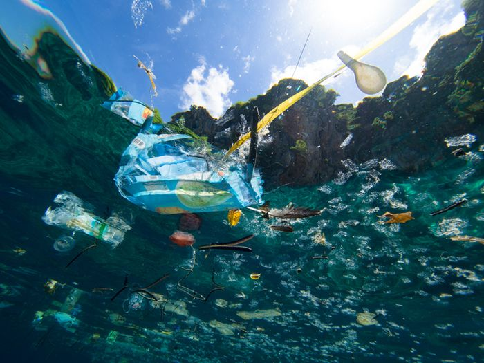 Kumpulan plastik di lautan.