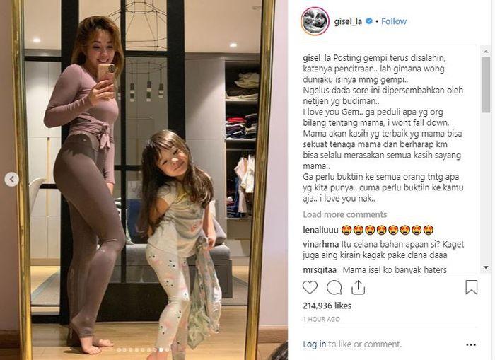 Gisella Anastasia merasa bingung dengan para netizen yang suka menyalahkannya lantaran unggahannya di media sosial kebanyakan berisi Gempita, anaknya sendiri.