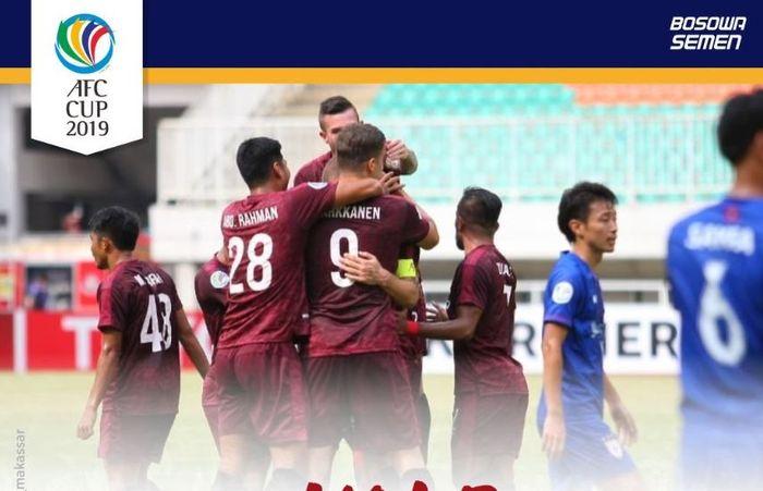 PSM Makassar menggilas Lao Toyota FC 7-3 dalam laga Piala AFC di Stadion Pakansari, Bogor, 13 Maret 2019.