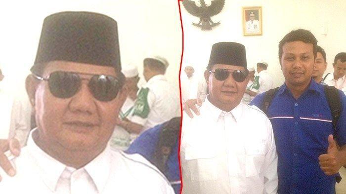 Sosok Prabowo 'KW' di VIP Lancang Kuning berhasil gaet perhatian wartawan dan emak - emak