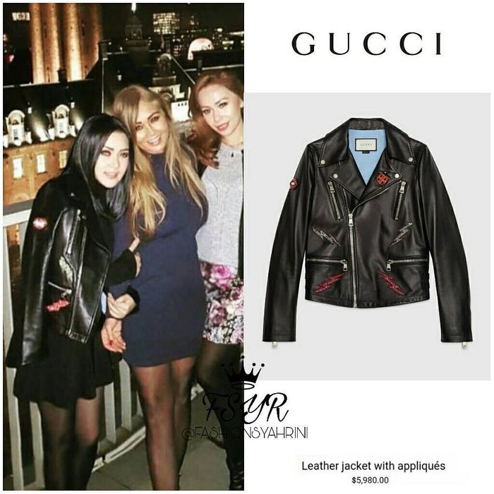 Koleksi jaket kulit Syahrini - Gucci Leather Jacket with Appliques