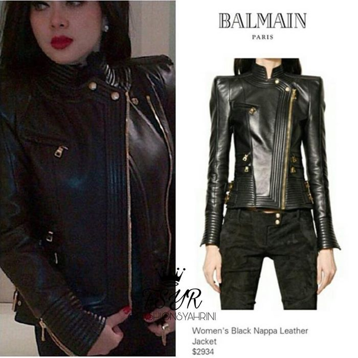 Koleksi jaket kulit Syahrini - Balmain Black Nappa Leather Jacket