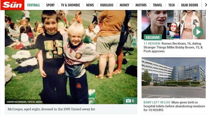 Conor McGregor kecil saat mengenakan jersey Manchester United tahun 1995.