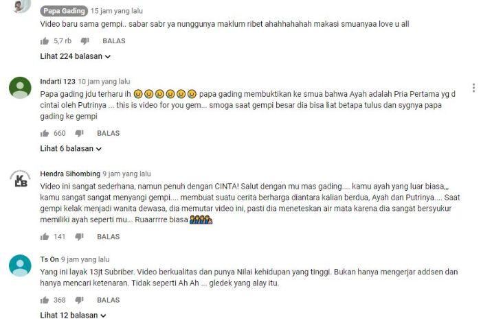 Netizen memberi komentar dan semangat untuk kebersamaan Gempi dan Gading.
