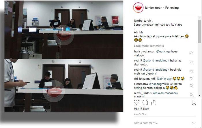 Unggahan Instagram akun Instagram Lambe Turah.