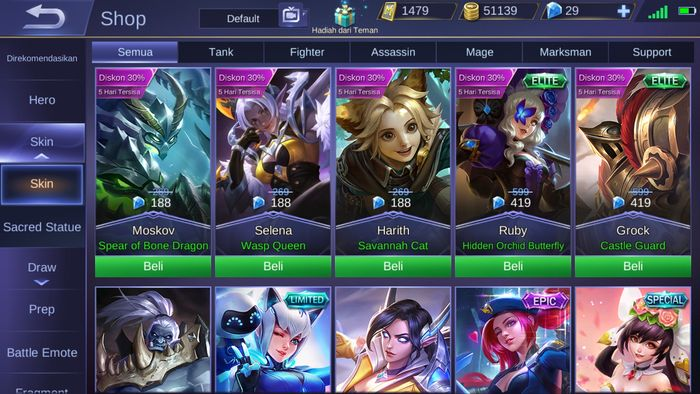 Diskon skin Mobile Legends