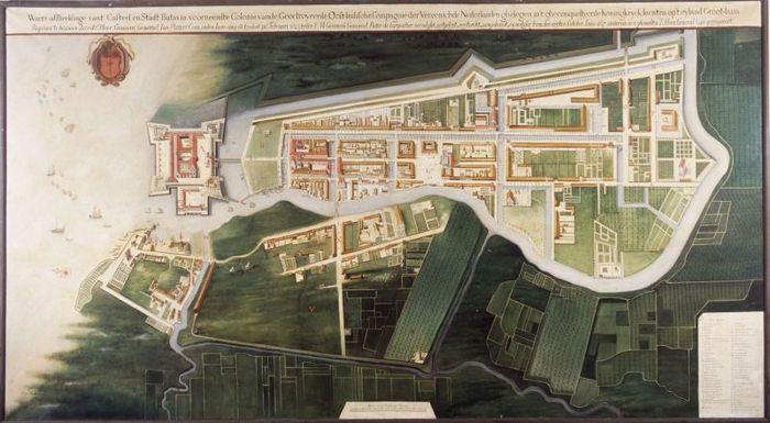 Peta Batavia 1627, yang direproduksi dari peta karya Frans Florisz. Berckenrode. Kini, disimpan di Tropenmuseum, Belanda.