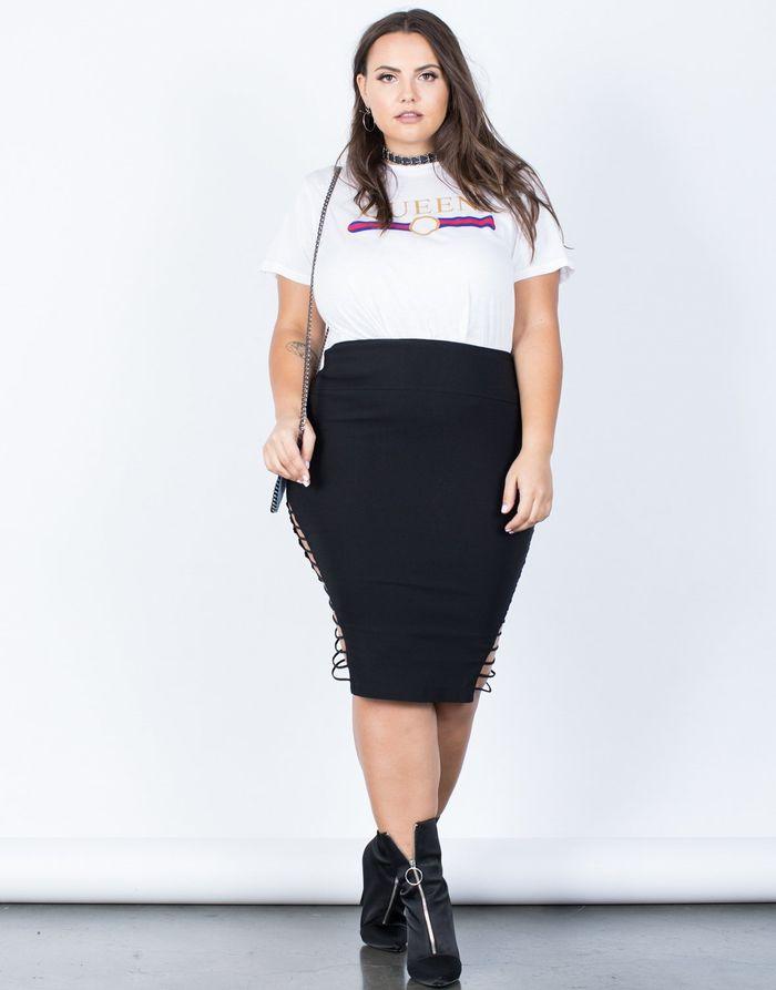 Pemilihan potongan rok span yang benar untuk tubuh berukuran besar akan membuat kamu terlihat menawan