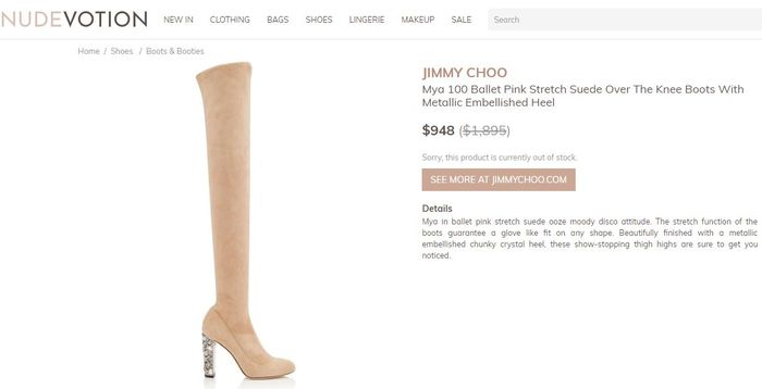 Jimmy Choo - Mya 100 Ballet Pink Stretch Suede Over the Knee Boots with Metallic Embellished Heel