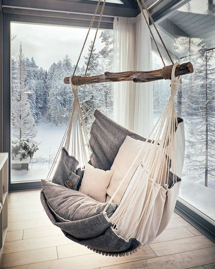 Hammock Chair with Cushions and Footrest