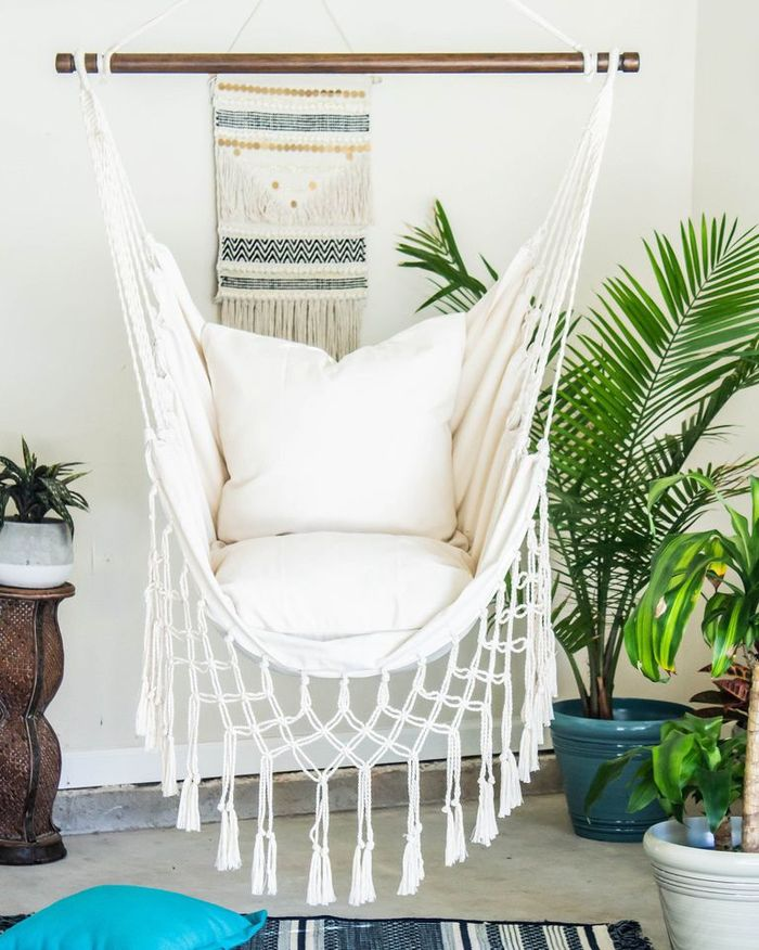 White Macrame Hammock Chair