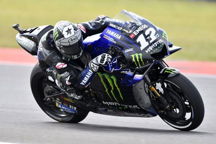 Maverick Vinales di atas Yamaha M1 di latihan resmi MotoGP Argentina 2019 di sirkuit Termas de Rio Hondo