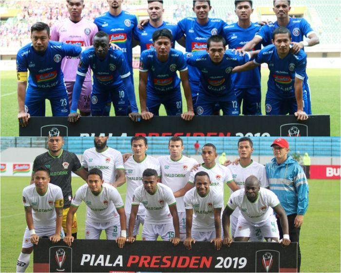 Kolase foto skuat Arema FC dan Kalteng Putra yang saling bertanding pada babak semifinal Piala Presiden 2019