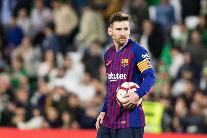 Penyerang FC Barcelona, Lionel Messi, beraksi pada sebuah laga Liga Spanyol.