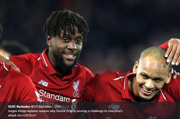 Striker Liverpool, Divock Origi (kiri)