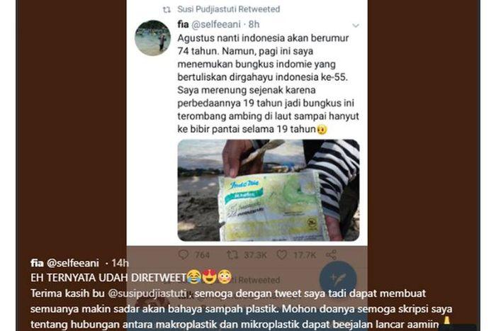 Foto sampah plastik bungkus Indomie bertuliskan Dirgahayu 55 Tahun Indonesiaku ditemukan di Pantai Sendang Biru di selatan Kabupaten Malang, Jawa Timur, viral di media sosial. Kicauan ini di-retweet oleh Menteri Kelautan dan Perikanan Susi Pudjiastuti.