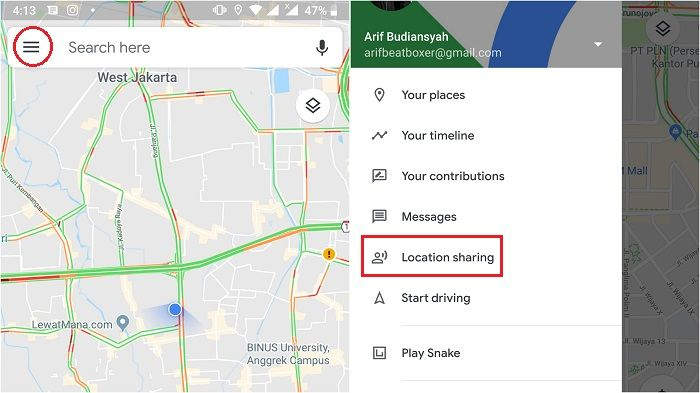 klik tanda garis tiga, lalu pilih location sharing