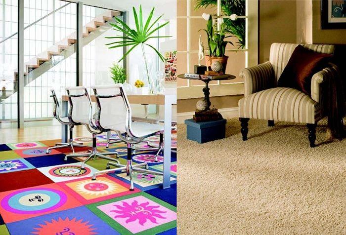 Kesan berbeda ditampakkan dari tampilan karpet yang berbeda pula. Yang satu semarak, yang satunya tenang.