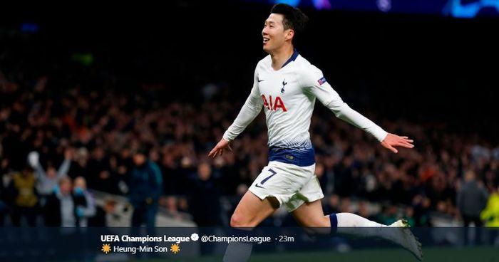 TWITTER.COM/CHAMPIONSLEAGUE Winger Tottenham Hotspur, Son Heung-min, berselebrasi atas golnya dalam laga leg I perempat final Liga Champions kontra Manchester City di Tottenham Hotspur Stadium, 9 April 2019.