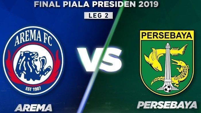 Kolase logo Arema FC dan Persebaya Surabaya yang bertanding di final leg kedua Piala Presiden 2019.