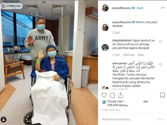 Postingan Ani Yudhoyono di Instagram terkait kondisi kesehatannya.