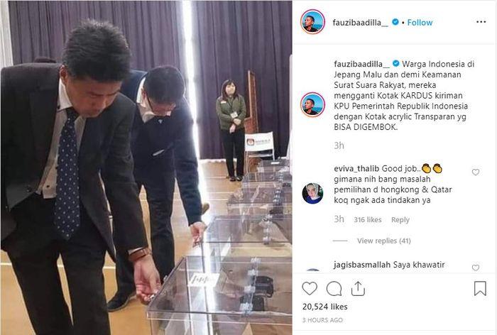 Postingan Fauzi Baadilla soal surat suara di Jepang.