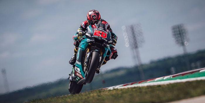Aksi pembalap Petronas Yamaha SRT, Fabio Quartararo pada MotoGP Americas 2019, Senin (15/4/2019) WIB.