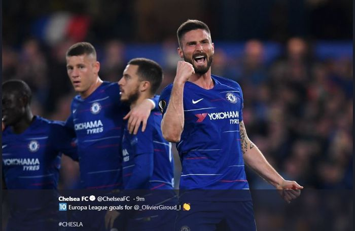 Bomber Chelsea, Olivier Giroud, mencetak gol ke gawang Slavia Prague dalam partai Liga Europa, 18 April 2019.