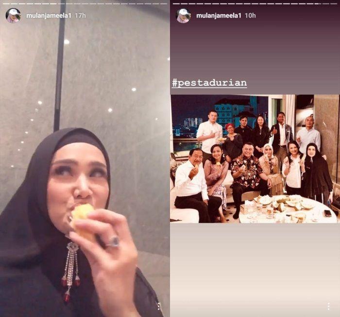 Mulan Jameela makan duren di ulang tahun teman