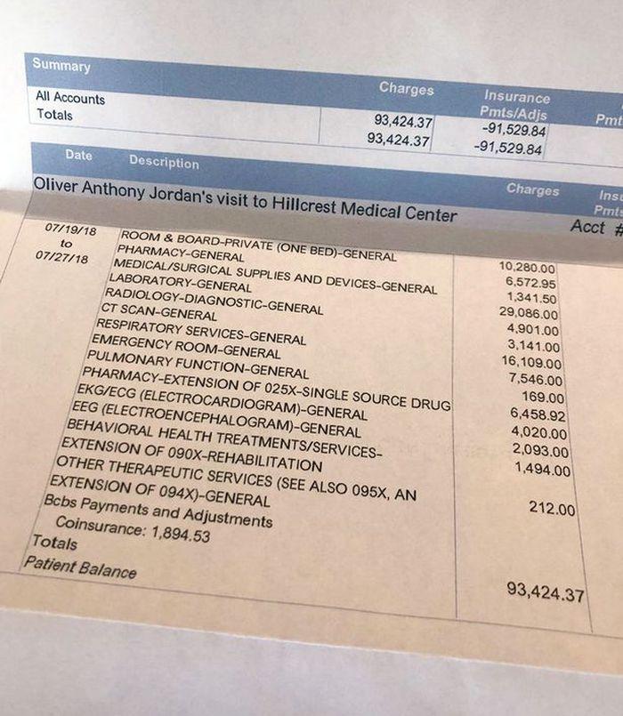 Daftar rincian biaya rumah sakit Oliver Jordan.