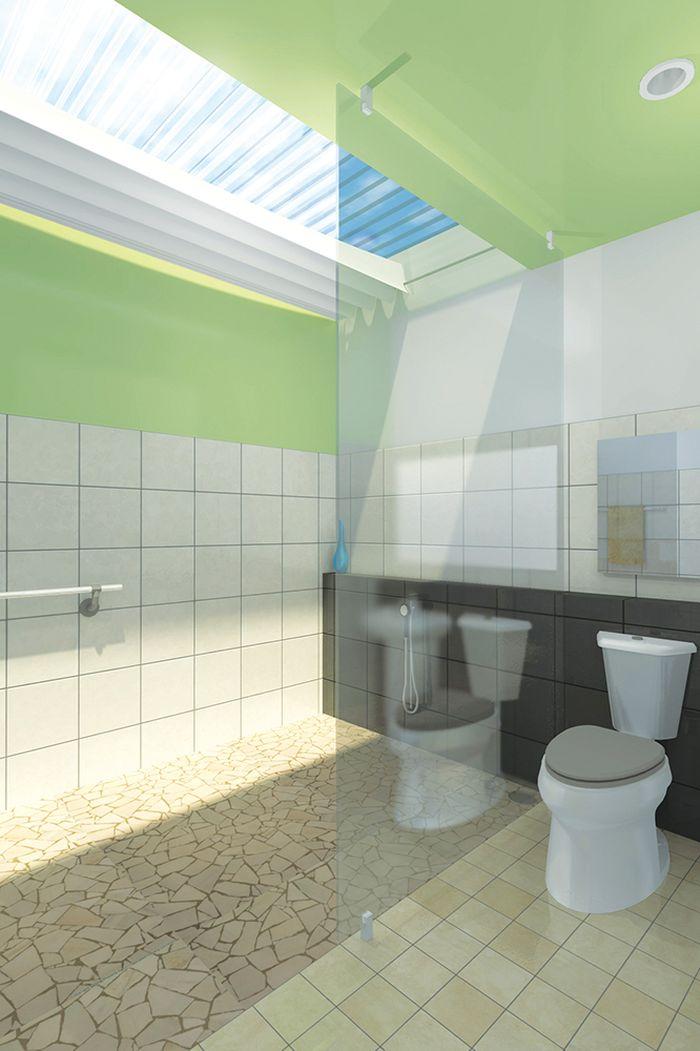Konsep kamar mandi kering membagi 2 area dan menggunakan atap transparan sebagai jalur cahaya alami yang dilengkapi kerai penutup.