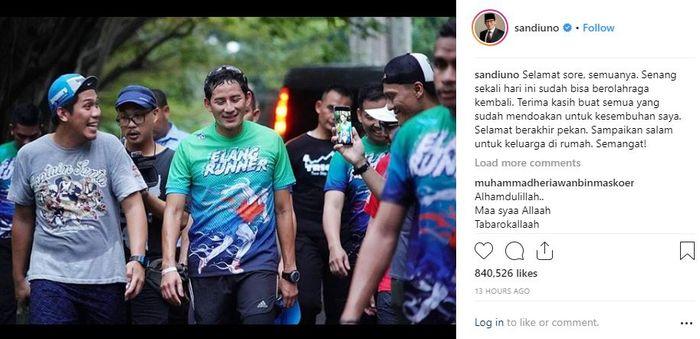 Unggahan Sandiaga yang menunjukkan kalau dirinya sudah kembali sehat