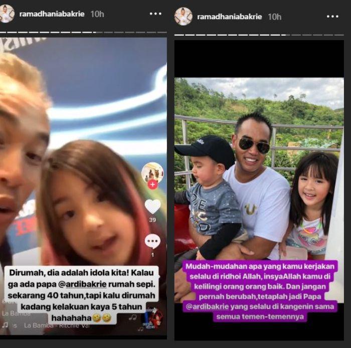 Unggahan Nia Ramadhani di Instagram Story, Senin (22/4/2019).