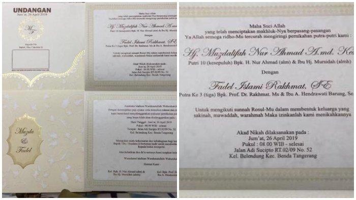 Undangan pernikahan Muzdalifah dan Fadel Islami