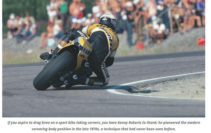 Teknik cornering Kenny Roberts yang membuat heboh dunia balap motor Eropa pada 1970-an.